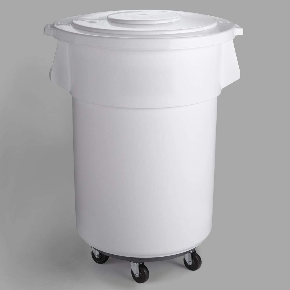 PRO&Family 4 Pack! 55 Gallon White Round Ingredient Bin/Commercial Trash Can with Lid and Dolly. Commercial Trash Container. Ingredient bin. Garbage. Waste Bin. Home, Office Trash Can. Commercial