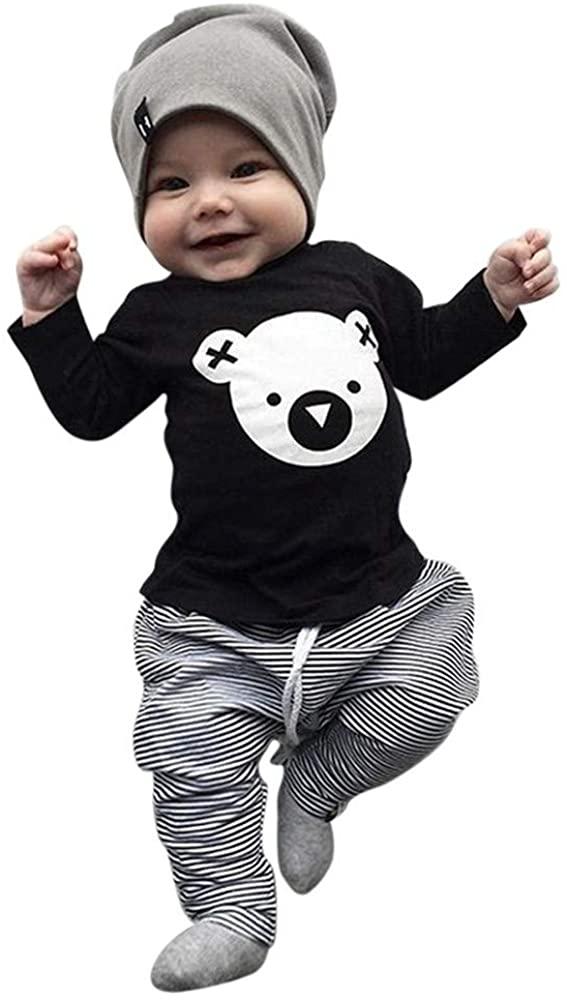 terbklf 3Pcs/Set Toddler Baby Girls Boys Cartoon Koala T-Shirt Tops Lace-up Striped Pants Hat Casual Wear Outfits Set