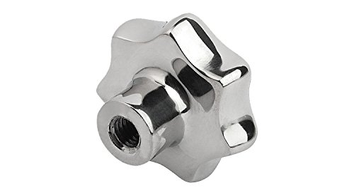 Kipp 06194-563122 Stainless Steel Tapped Blind Hole Star Grip, Style E, Metric, Polished Finish, 63 mm Diameter
