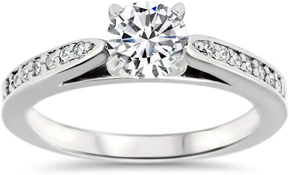Silver SEA EMPIRE0.14 Ct Round Sim Diamond Solitaire W/Accents Engagement Ring 14K White Gold Fn 92.5 Sterling Silver