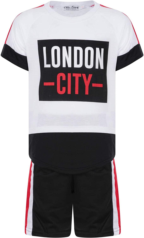 Boys London City Shorts Set Summer T-Shirt Short Sleeve Top and Shorts Outfit