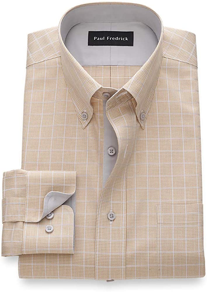 Paul Fredrick Men's Classic Fit Non-Iron Cotton Windowpane Dress Shirt