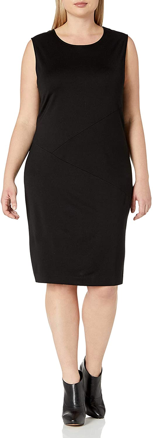 Joan Vass Plus Size Womens Geometric Seamed Dress