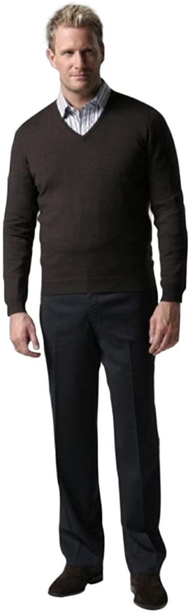 Knightsbridge Comfort Wool Men's Dress Pants, Expandable Waist - Flat Front