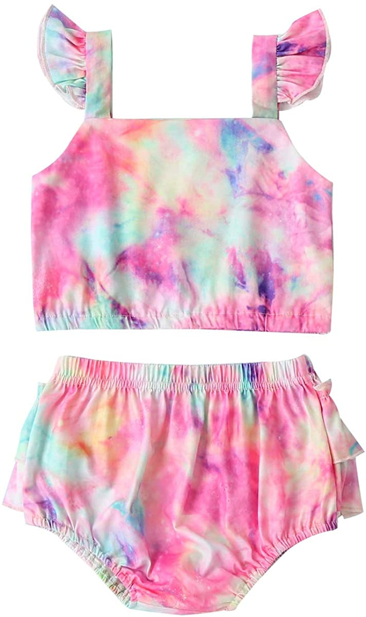 Infant Baby Girl Tie-Dye Clothes Ruffle Summer Shorts Set Sleeveless Crop Tops Bloomer Outfit Sets