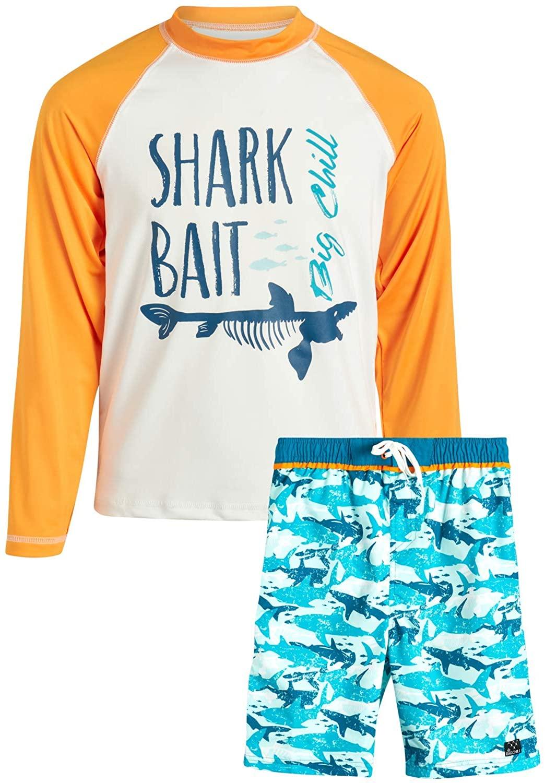 Big Chill Boys' Swimwear - Long Sleeve Rashguard UPF 50+ Swim Shirt and Bathing Suit Board Short Set