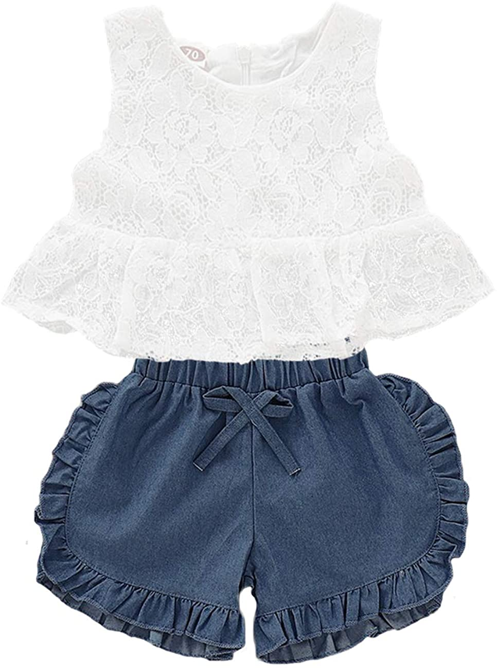Baby Girl Clothes Lace Sleeveless Vest Tops and Jeans Shorts Outfits Set