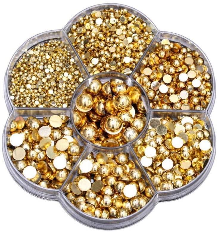 Healifty 2465pcs Resin Flatback Rhinestone Gems Half Pearl Beads Embellishments for DIY Craft Jewelry Making Nail Art Makeup Supplies (Silver)