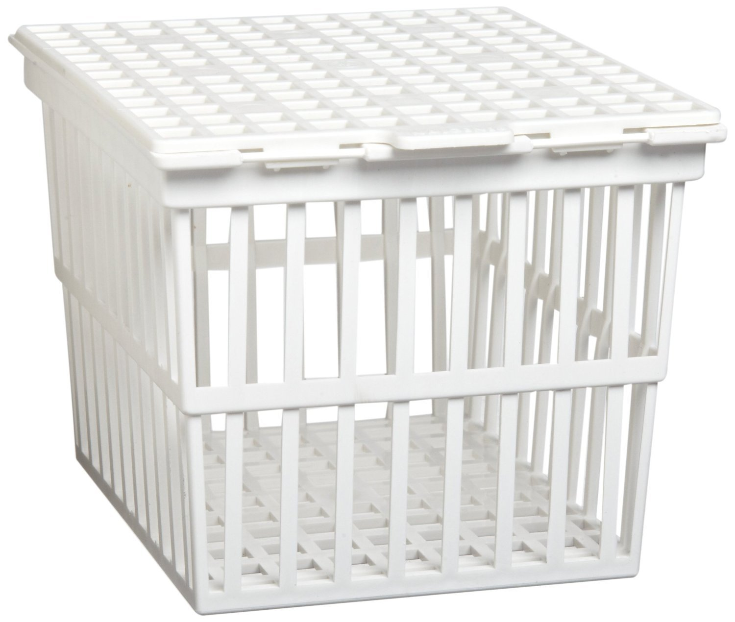 PSC 2003602 White Polypropylene Autoclaving Basket with Lid, 23 cm x 23 cm x 23 cm