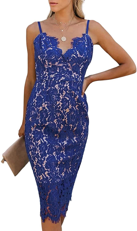 Itsmode Women's Lace Spaghetti Strap Summer Midi Dress Sleeveless Beach Sundress