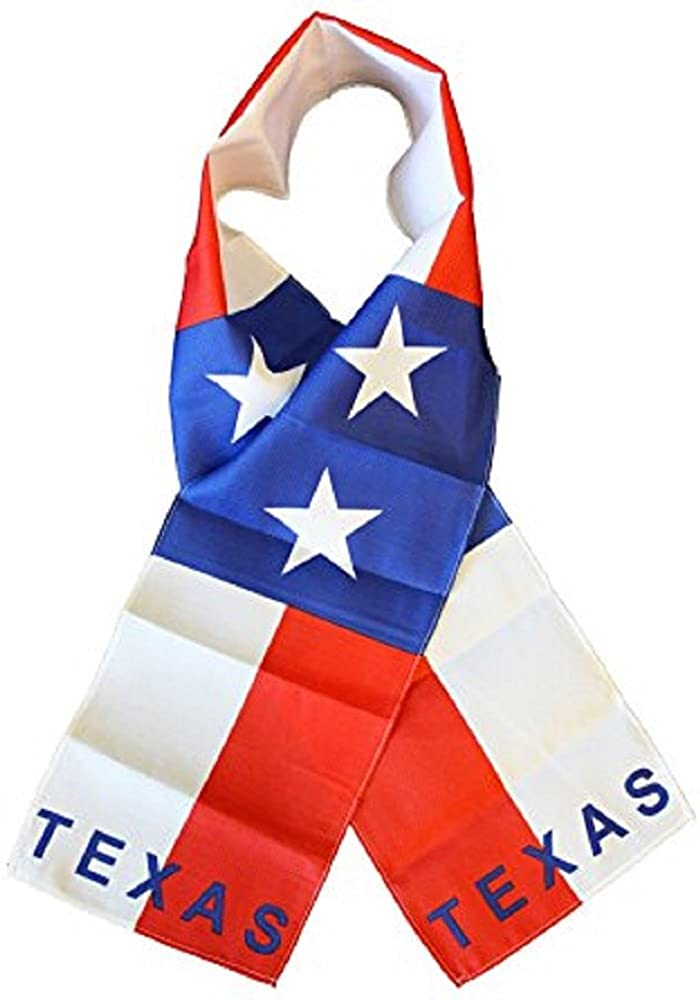 AWS State of Texas TX Lightweight Flag Printed Triple Knit Polyester Style Scarf 8