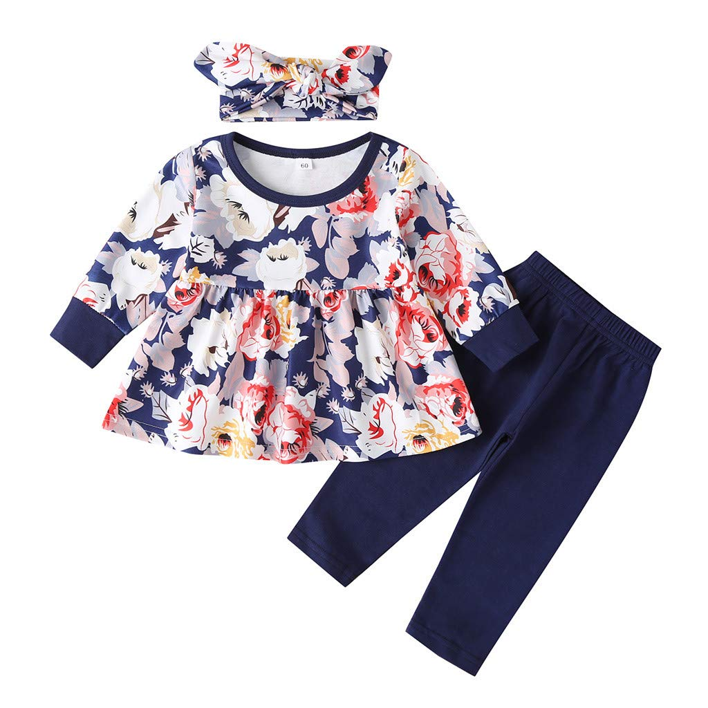 Gallity Toddler Baby Girl Fall Clothes Set Cotton Long Sleeve Floral Ruffle Highlow Tunic Tops + Pants + Headband 3pcs Infant Baby Girl Outfits (3-4 Years, Blue)