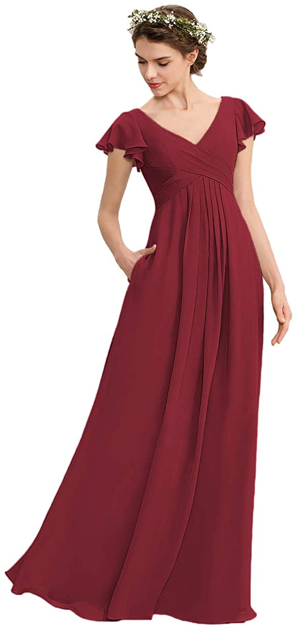 Noras dress V Neck Chiffon Bridesmaid Dresses with Pockets Long Evening Gown Ruffle Sleeve Formal Gowns for Women B149