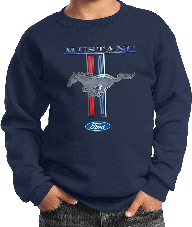 Ford Mustang Stripe Youth Kids Sweatshirt, Navy Large
