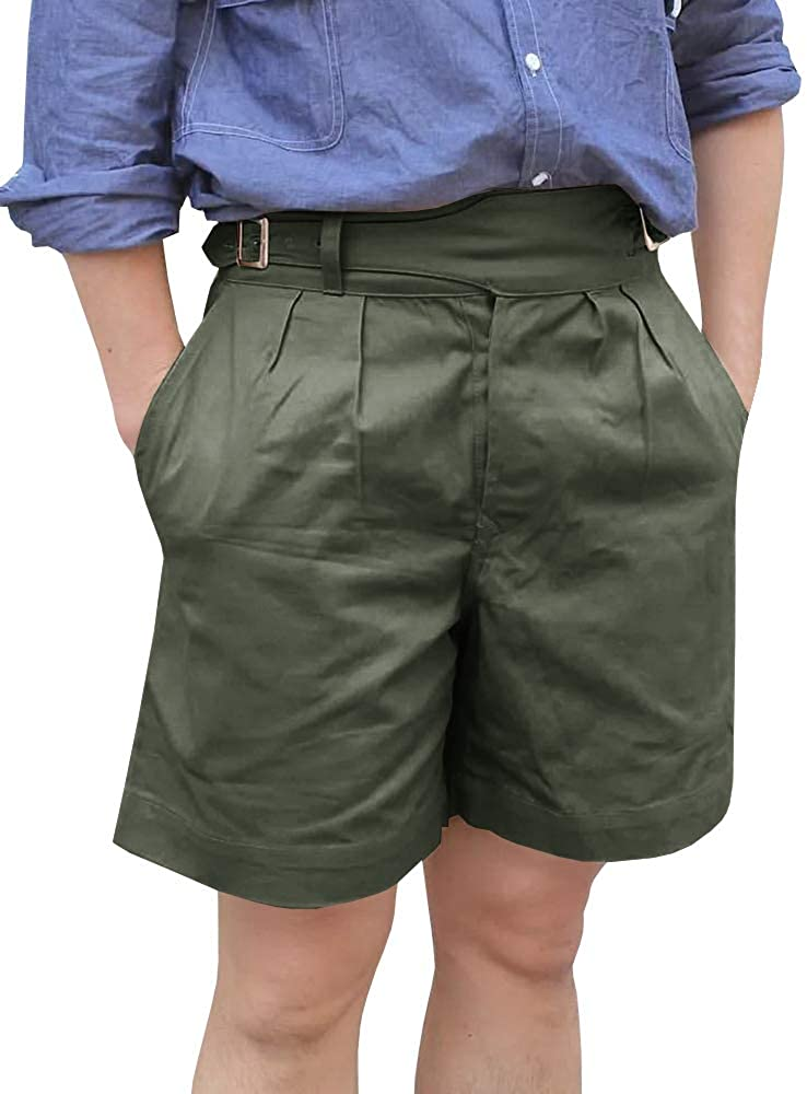 Men's Flat Front Shorts Relaxed Fit Military Style Short Pants Cargo Cotton Shorts with Belt