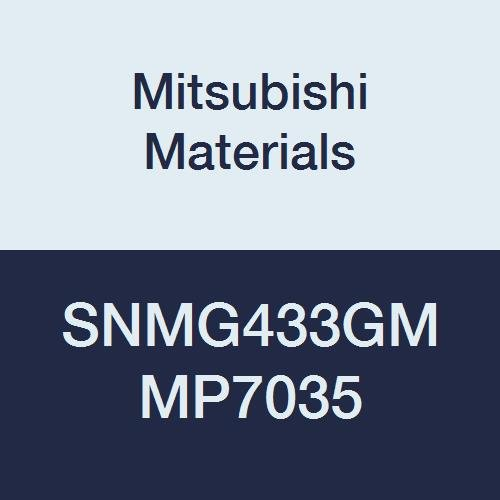 Mitsubishi Materials SNMG433GM MP7035 Carbide SN Type Negative Turning Insert with Hole, Coated, Square, Grade MP7035, 0.5