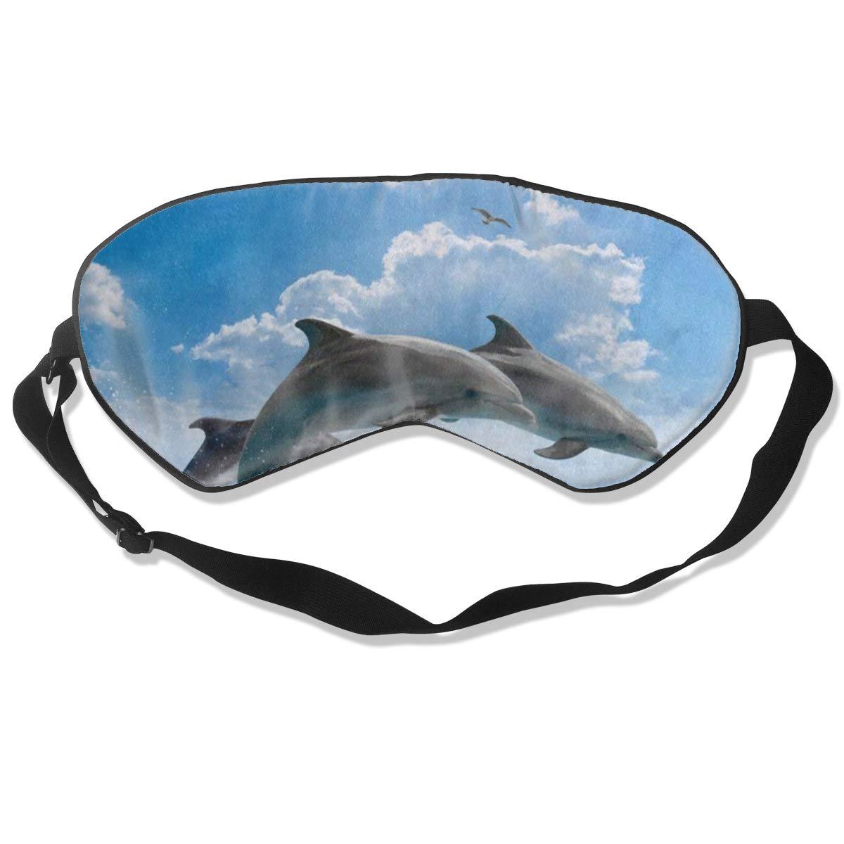 Custom Sleeping Mask Blue Sky Dolphin Ocean Sea Adjustable Breathable Sleep Mask/Sleeping Eyes Mask/Sleep Eyes Mask/Eyeshade/Blindfold