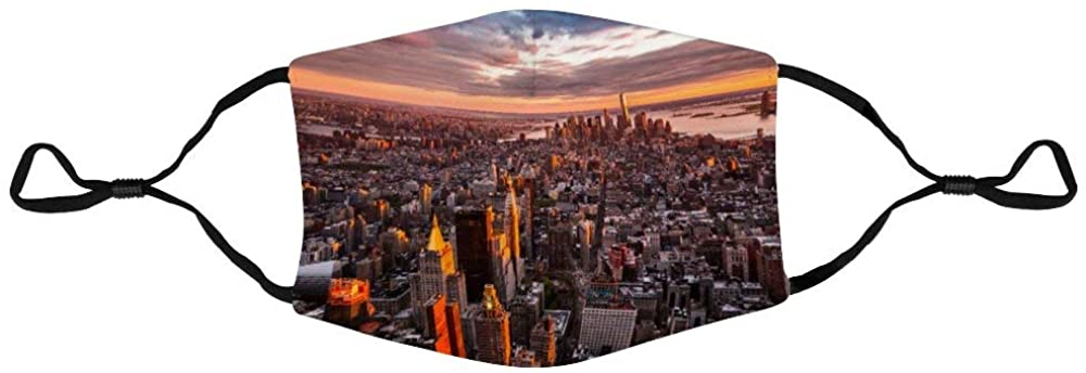 Face Protection Aerial View of The Manhattan Skyline at Sunset Face Protection Unisex Adjustable Breathable Dustproof Mouth Cover