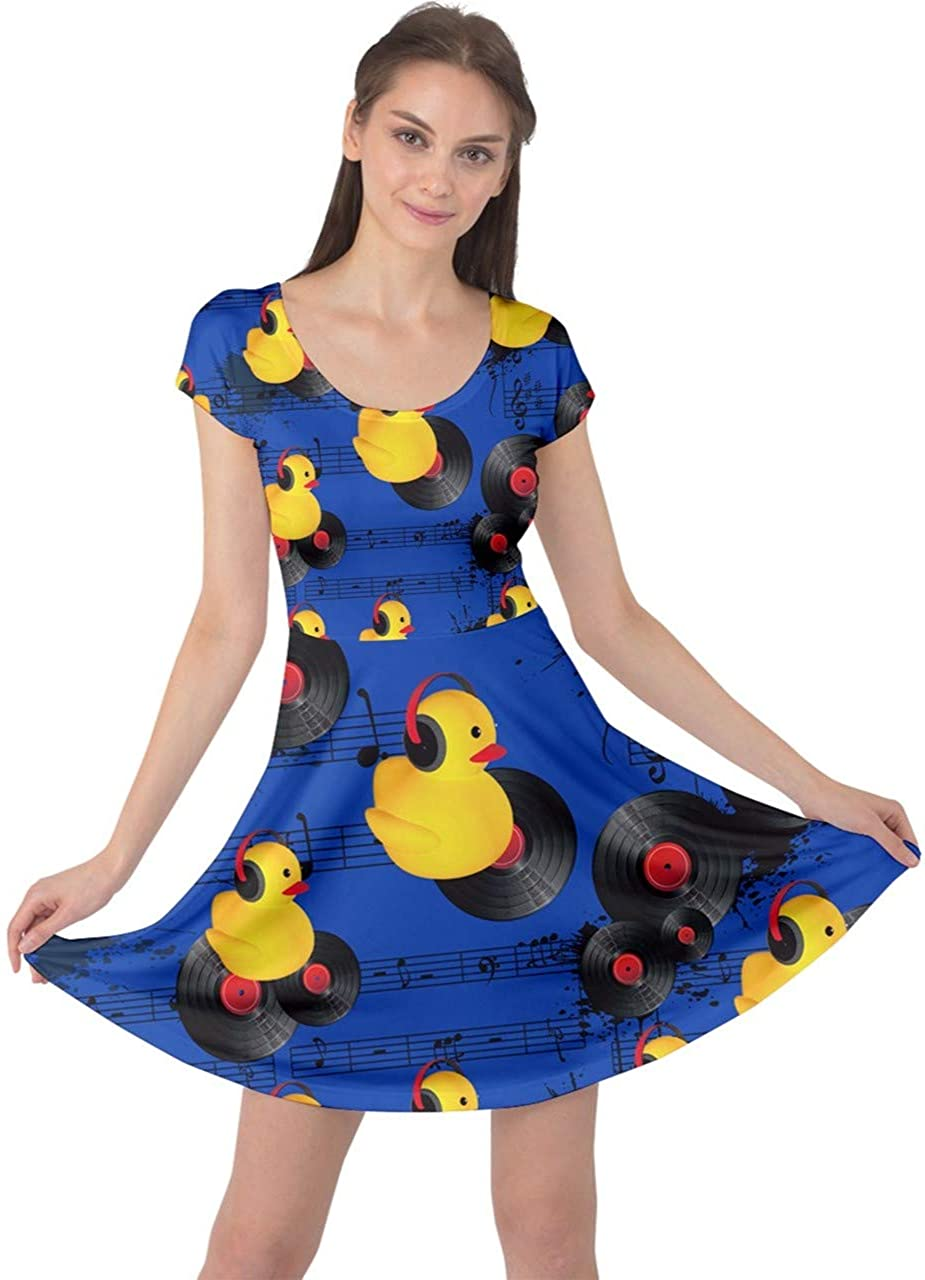 CowCow Womens Casual Dress Cute Pattern Yellow Ducks Duckling Cap Sleeve Dress, XS-5XL