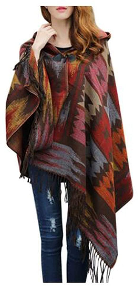 Womens Fashion Croissant Button Bohemian Fringe Blended Cashmere Hooded Cape