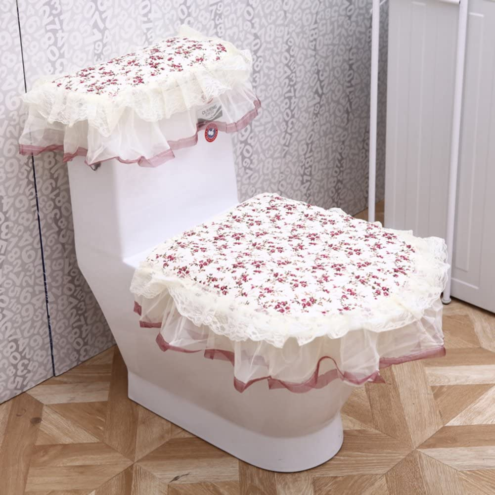 Toilet Cushion,Luxury Toilet Seat Cover 3 Pack Set (Lid Cover & Tank Cover) Bathroom Zipper Super Warm Soft Comfy