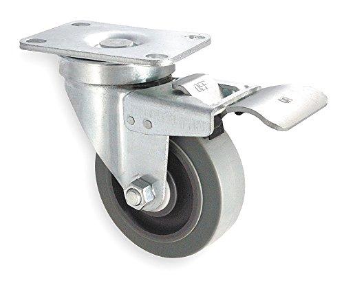 Swivel Plate Caster, Rubbr, 3 in., 200 lb, C