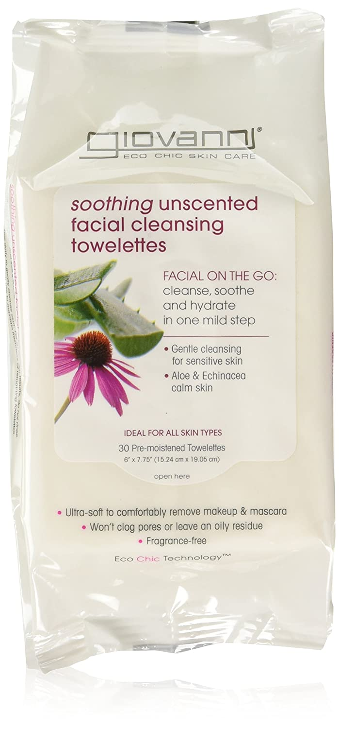Giovanni Facial Cleansing Towelettes, Fragrance Free, 30 Count