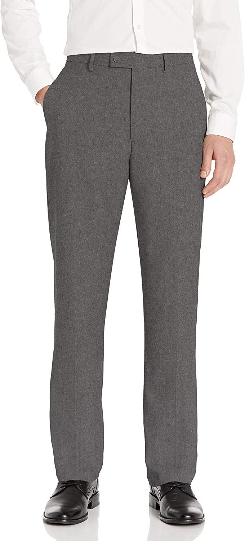 Haggar Men's Expandomatic Stretch Classic Fit Plain Front Dress Pant, Dark Grey Heather, 42x29