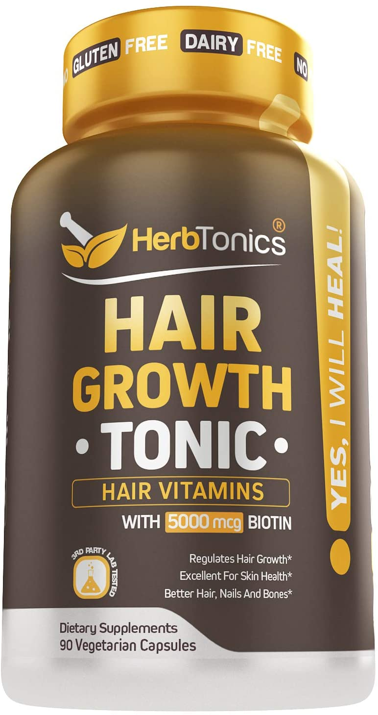 Hair Growthtonic Hair Growth Vitamin Scientifically Formulated for Women Men - Hair Skin & Nails Vitamins for Healthier Stronger Hair - 90 Capsules with Biotin & Keratin Supplement