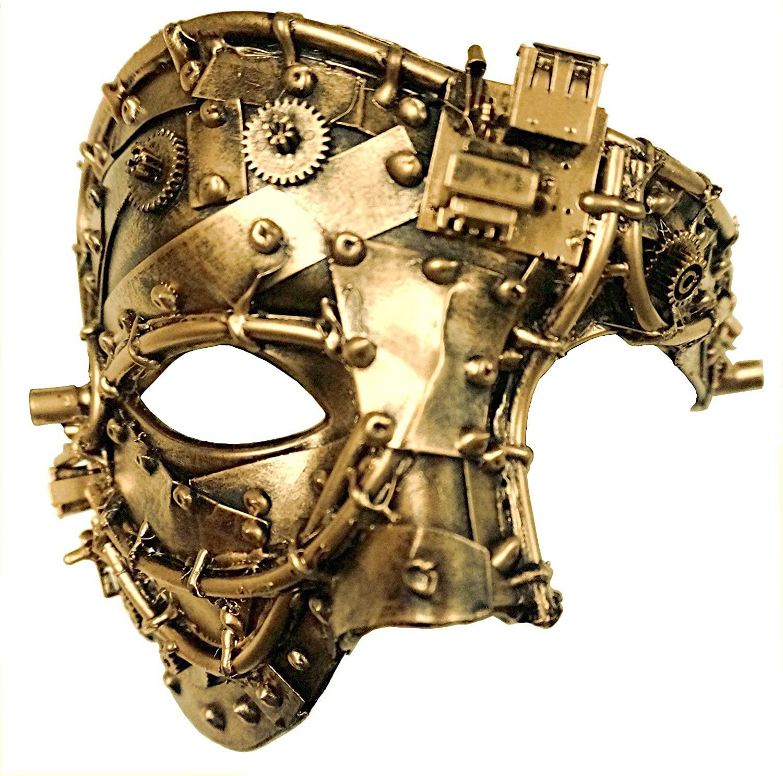 Bemasqued Steampunk Phantom of The Opera Mask, Gold, Men's Unisex Half-Face Masquerade Costume Halloween