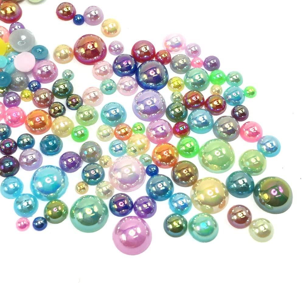 1000 pcs 3mm - 8mm DIY Art Shiny Faux Pearls Flat Back Assorted Mix Colors Size Deco Cabochon