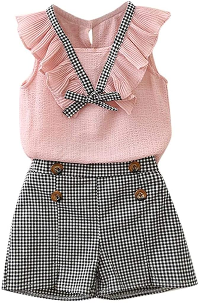 terbklf Toddler Kids Baby Girls Outfits Ruffles Decoration Clothes Bowknot Vest Tops+Plaid Shorts Pants Casual Wear Set