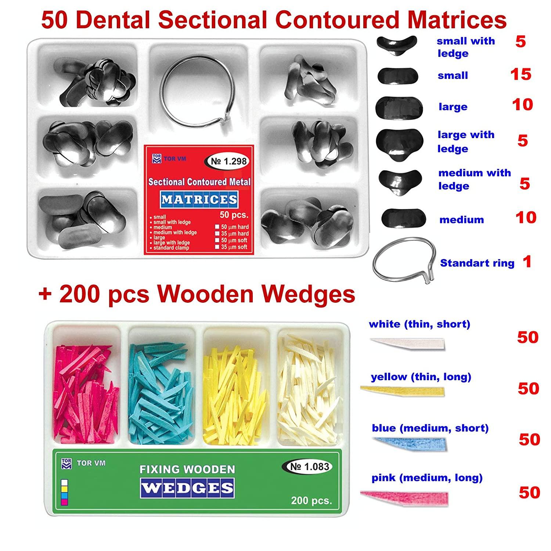 Zubastick 50 of Dental Sectional Contoured Matrices Matrix + 200 Wooden Wedges