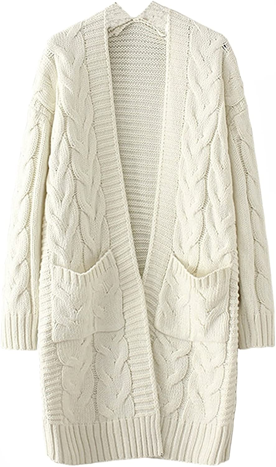 Honeystore Women's Long Chunky Cable Knit Cardigan Coat Open Front Loose Sweater