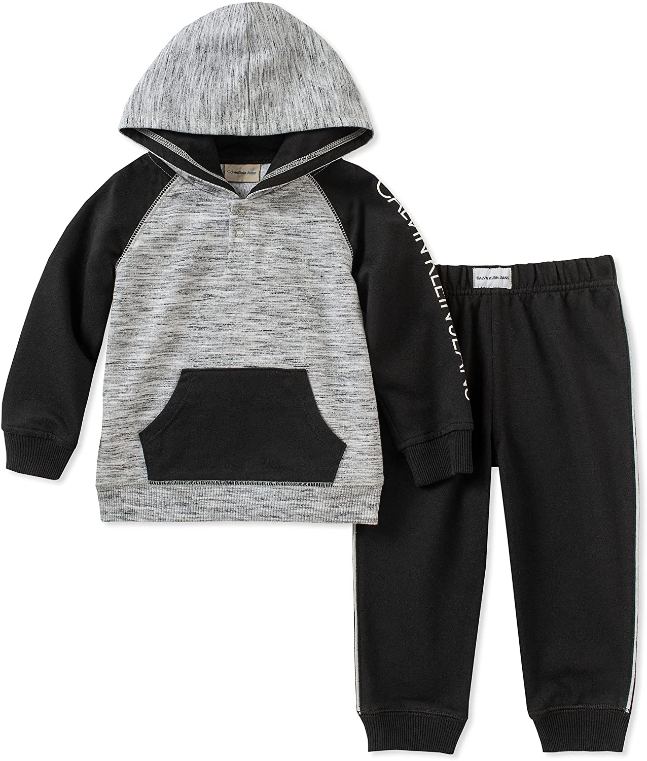 Calvin Klein Baby Boys 2 Pieces Hooded Jog Pant Set-Buttons