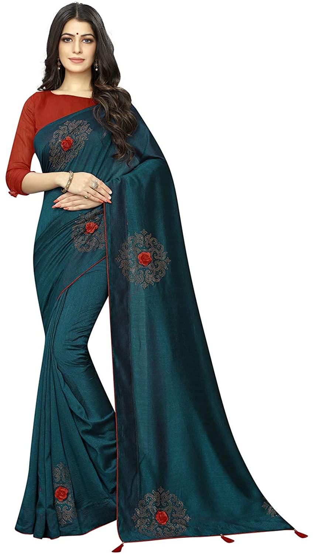 Indian Saree for Women Ethnic Sari Morpech Vichitra Two- Ton Silk Sari with Unstitched Blouse. ICW2689-7
