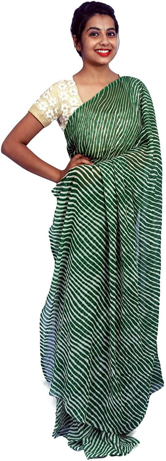 Aaradhya Fashion Rajasthani Designer Georgette Rajasthani Dark Green Color Leheriya Saree