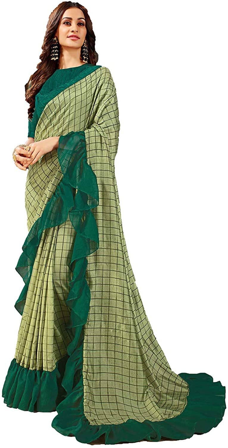 Saree for Women Bollywood Wedding Designer Green Sari with Unstitched Blouse.