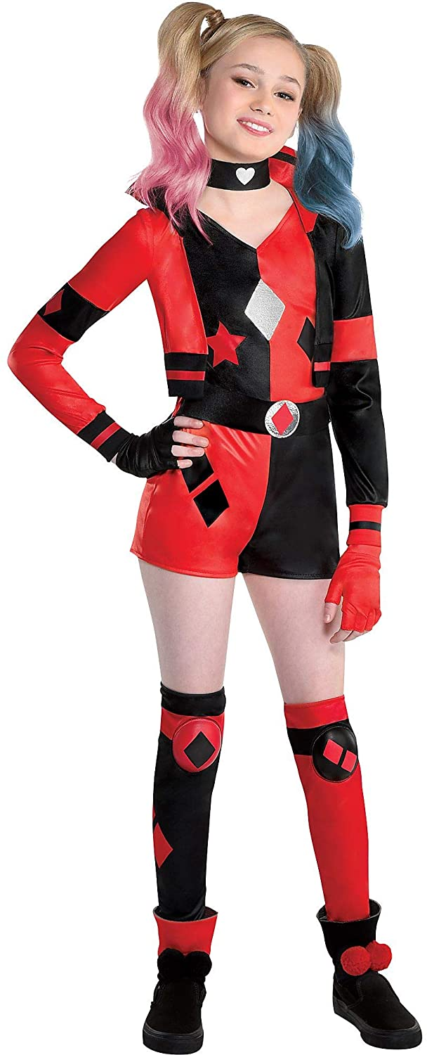 Party City Harley Quinn Halloween Costume for Girls, DC Comics Includes Romper, Choker, Gloves and Leg Warmers
