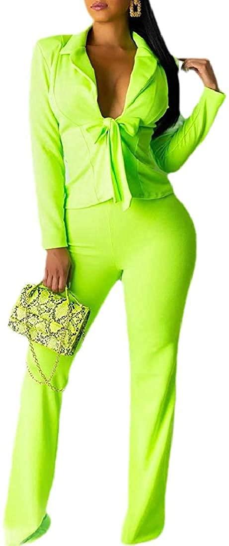 Womens Solid Elegant 2 PCS Blazer Jacket Pants Set