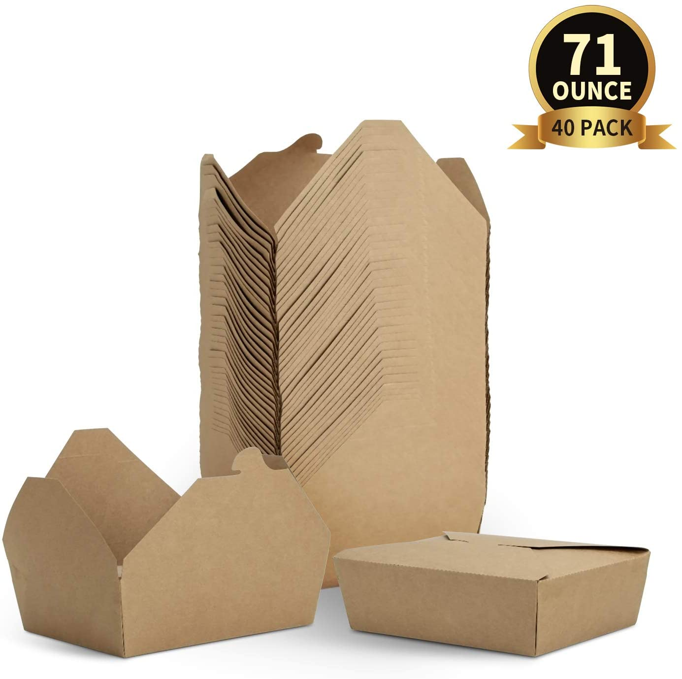 TOROTON Take Out Food Containers, Microwaveable Kraft Brown Take Out Boxes, Leak and Grease Resistant to Go Containers, for Restaurant, Catering and Party - 40 Pack 71 oz
