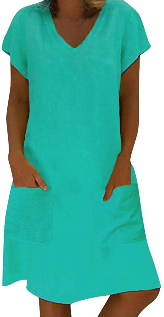 Forthery Women's Summer Casual T Shirt Tunic Tank Dresses Short Sleeve V Neck Swing Dress with Pockets