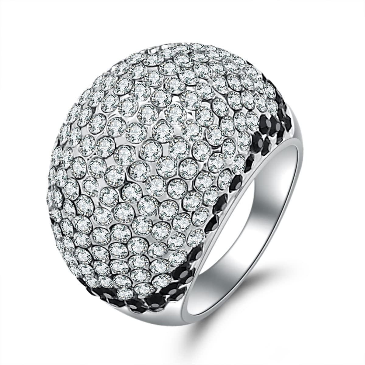 Carfeny Jewlery 14k White Gold Plated CZ Ring Band Cublic Zirocnia Wedding Engagement Rings for Women