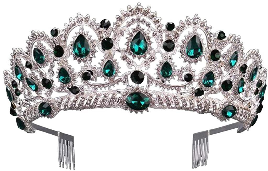 TeemorShop Tiara Crowns Vintage Crystal Pageant Princess Crowns with Comb Bridal Tiaras