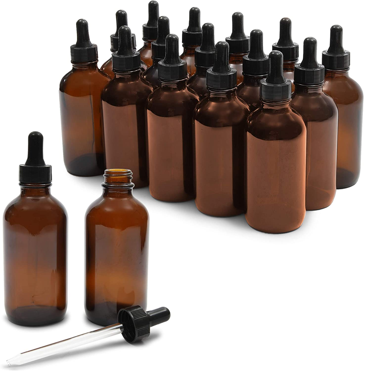 15 Count 4 oz Amber Glass Dropper Bottles and 6 Funnels (120 ml, 21 Pieces)