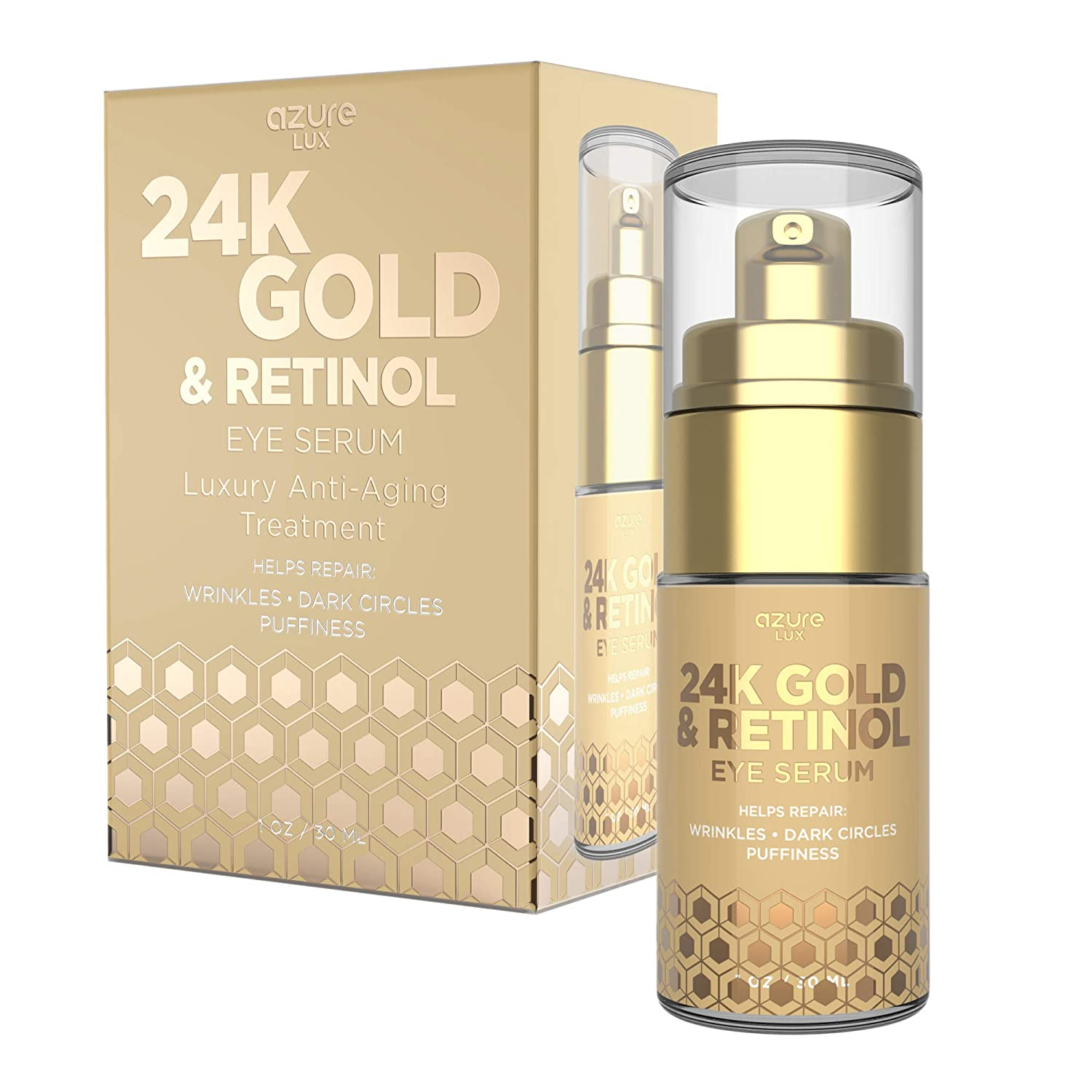 AZURE 24K Gold & Retinol Luxury Anti Aging Eye Serum - Lifting, Firms & Toning | Reduces Wrinkle, Fine Lines & Crow's Feet | Hydrates, Minimizing Signs of Fatigue & Dark Circles - 30mL