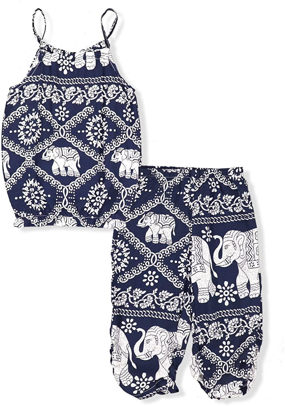 Oklady Little Girls' Clothes Summer Straps Shorts Set, Elephant Sleeveless Tops+Harem Pants 2Pcs Outfits for Toddler Girls