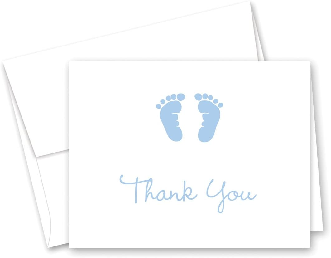 50 Cnt Baby Footprint Boy Baby Shower Thank You Cards