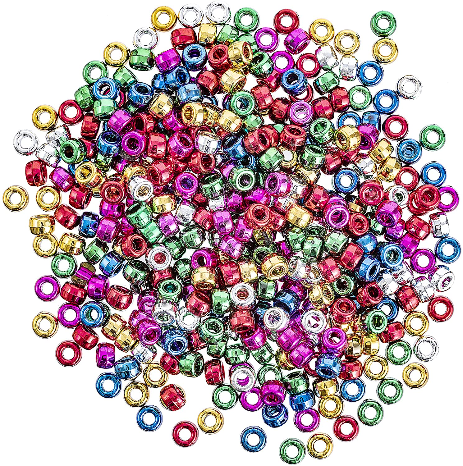 Darice 370-Piece Metallic Pony Beads, 6 by 9mm Assorted Colors (1963-35)
