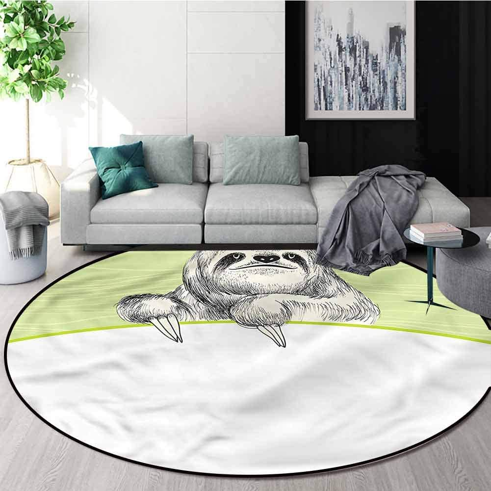 Sloth Round Area Rugs Super Soft Living Room,Idle Sloth Abstract Green Protect Floors While Securing Rug Making Vacuuming Diameter-63